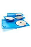 dischi del Blu-raggio isolati su bianco Fotografia Stock Libera da Diritti