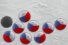Dischi di hockey cechi Fotografia Stock Libera da Diritti