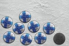 Dischi di hockey finlandesi Immagine Stock Libera da Diritti