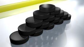Dischi di hockey su ghiaccio Fotografia Stock