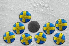 Dischi di hockey svedesi Fotografia Stock Libera da Diritti