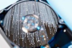 Dischi rigidi del server, fibra ottica illuminata con le luci vaghe Fotografia Stock