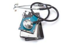 Dischi rigidi e stetoscopio esterni Fotografia Stock