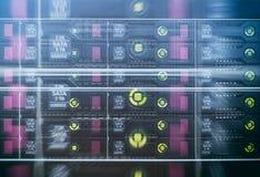 Dischi rigidi SATA del server Esposizione multipla Fotografie Stock