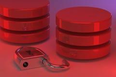 Dischi rossi in pile e un lucchetto d'acciaio sbloccato accanto  Allarme rosso Access ha assegnato ai dati o alla base di dati ne fotografia stock libera da diritti