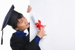 Disciple gradué indiquant le panneau blanc Images stock