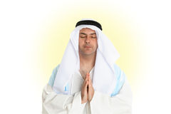 Disciple in prayer. A man hands together in prayer Royalty Free Stock Photo
