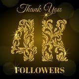 disciples 4k Merci bannière Lettres d'or avec des étincelles sur un fond foncé Image stock