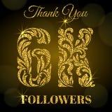 disciples 6K Merci bannière Lettres d'or avec des étincelles sur un fond foncé Photos stock