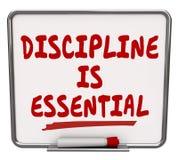 A disciplina é controle seco do compromisso da placa do Erase das palavras essenciais ilustração do vetor