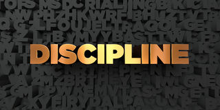 Discipline - Gold text on black background - 3D rendered royalty free stock picture Royalty Free Stock Image