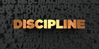 Discipline - Gouden tekst op zwarte achtergrond - 3D teruggegeven royalty vrij voorraadbeeld royalty-vrije illustratie