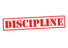 DISCIPLINE. Red Rubber Stamp over a white background stock photos