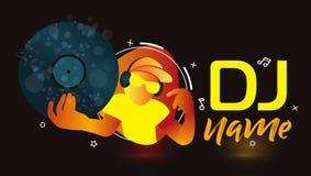 discjockey Logo Design Idérik vektorlogodesign med hörlurar och discjockey med exponeringsglas Musiklogotypmall För tillbehör mär stock illustrationer