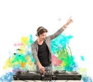 discjockey som spelar musik royaltyfri bild