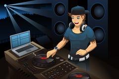 discjockey som utför i en nattklubb stock illustrationer