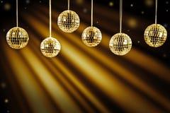 discjockeybakgrund med guld- ljus Arkivbild