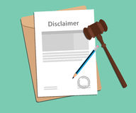 Disclaimer agreement stamped with folder document, blue pencil and judge hammer. Vector Royalty Free Stock Photography