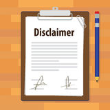Disclaimer document paper legal agreement signed. Vector illustration stock illustration