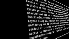 Disclaimer text on a computer LCD screen terminal stock footage
