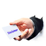 Disclaimer text write. By Businessman Royalty Free Stock Image