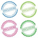 Disclosure badge isolated on white background. Flat style round label with text. Circular emblem vector illustration Royalty Free Stock Photos