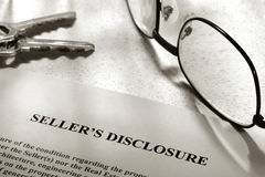 disclosure estate real seller statement Arkivbild