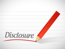 Disclosure message written. Over a paper background Stock Images