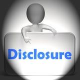 Disclosure Sign Displays Announcement Admission On Revelation. Disclosure Sign Displaying Announcement Admission On Revelation royalty free illustration