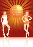 In the disco. Girls dancing in the disco lights, vector illustration stock illustration