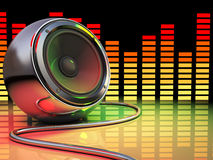 Disco. 3d illustration of audio speaker and spectrum, disco party concept Stock Images