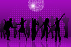 Disco. Dancer silhouettes and their reflections in the night club,with disco ball Stock Photos