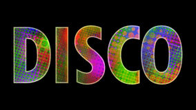 Disco. Inscription disco with multicolored lights Stock Illustration