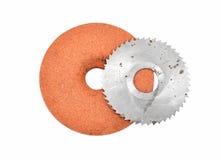 Disco abrasivo y lámina de sierra circular imagenes de archivo