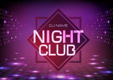 Disco abstract background. Neon sign Night club poster. Stock Photography