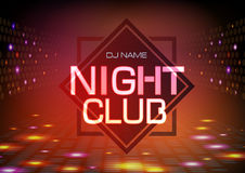 Disco abstract background. Neon sign Night club poster. Stock Image