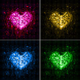 Disco abstract  background. Set of hearts Royalty Free Stock Images