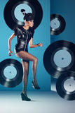 Disco african woman dancing with vinyl Royalty Free Stock Photography