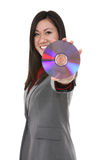 Disco asiático da terra arrendada da mulher Fotografia de Stock