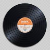 Disco audio del vintage del vinilo del expediente del análogo aislado en el ejemplo transparente del vector del fondo Imagen de archivo libre de regalías