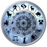 Disco azul del zodiaco con las muestras Foto de archivo