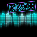 Disco Background. Party Background - Neon Disco Sign and Blue Equalizer - Vector royalty free illustration