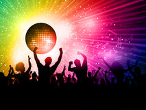 Disco background. Silhouette of a party crowd on a disco ball background Stock Photography