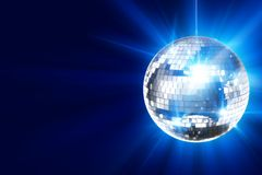 Disco Background. With Shiny Retro Disco Ball. Great Background for Disco Party or Small Karaoke Event. Blue Theme Royalty Free Stock Images