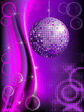Disco background. With mirror ball and abstract circles and halftones Stock Photos