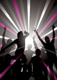 Disco Background. An illustration of silhouetted people dancing in disco lights Stock Photo