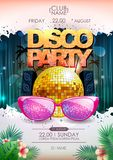 Disco background. Disco ball summer party poster. On neon background vector illustration