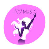 Disco background with dance girl silhouette Royalty Free Stock Images