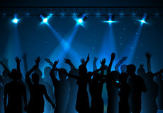 Disco background. Dancing people. Neon disco background. Dancing people Royalty Free Stock Photo