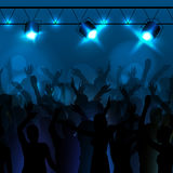 Disco background. Dancing people. Neon disco background. Dancing people Stock Photos